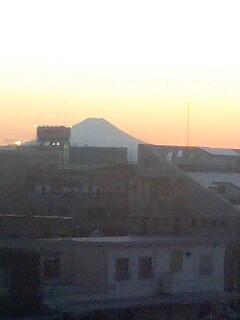 夕日に映える富士山